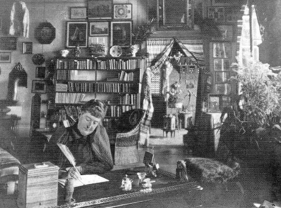 Lady Burton al lavoro nel salotto di Villa Economo (Collezione degli Ivanissevich)