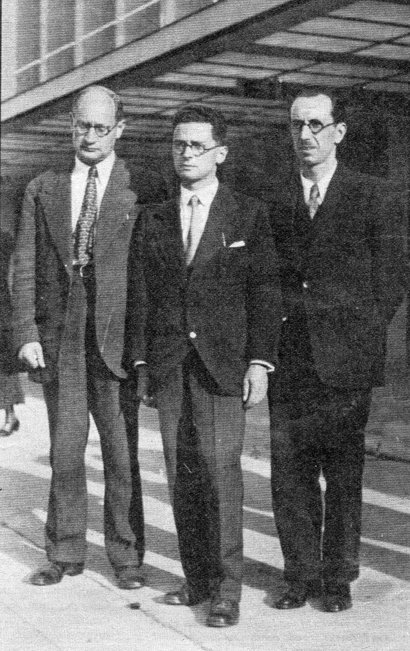 Edoardo Weiss con gli allievi Emilio Servadio e Nicola Perrotti nel 1934