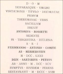 Iscrizione antonio rossetti
